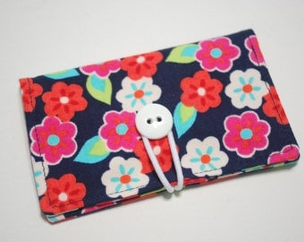 READY to SHIP - Pink & White Flowers Fabric Mini Wallet - with Button and Closure. Business Card Holder, Credit Card Wallet, Small Wallet.