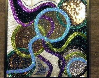 Sequin Mosaic - Mardi Gras, Sequin Art, Modern Art, Mixed Media Art, Soda Can Art, Art Deco