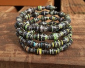 Paper bead memory wire bracelet ~ green and black ~ Paper Bead Jewelry made from magazine pages