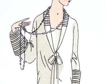 Vintage 1920s sewing pattern. Ornamental collar and modern skirt