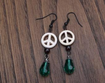 White Peace Sign Earrings, Hippie Earrings, Peace Sign Earrings, Peace Earrings, Bohemian Earrings, Hippie Jewelry