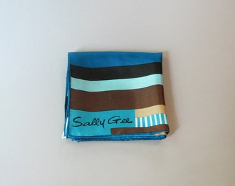 Vintage Mod Sally Gee Silk Scarf - Blues / Browns