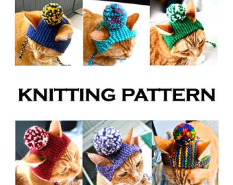 Pom Pom Cat Hat Knitting Pattern - Instant Download - DIY Hand Knit Cat Costume