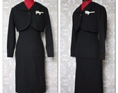 Vintage 1950's 60's Junior Sophisticates Black Wool Pencil Dress and Jacket Set XS/S NWT