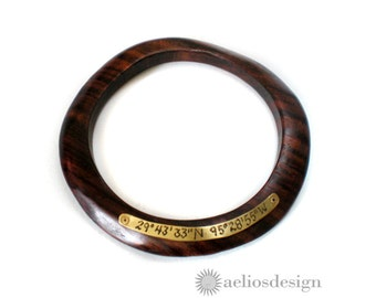 Personalized Wood Bangle Bracelet  | Location Bracelet | 5th Anniversary | Wood Bangle | An Organic Version of the Original Circle Bangle