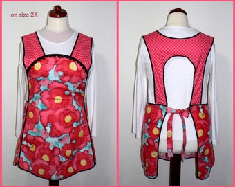 Retro 50s Smock Apron - Laura Gunn's Worn Poppy - no neck ties, comfortable all day apron, made-to-order XS to Plus Size