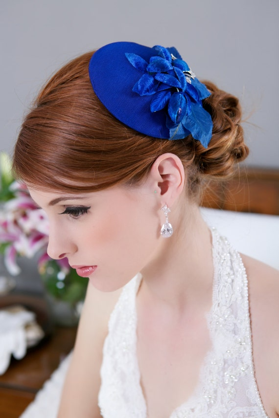 Sale Royal Blue Bridal Mini Hat Blue Wedding Headpiece