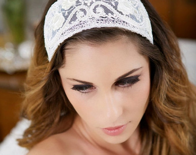 Ivory Lace Headband, Ivory Headpiece, Vintage Lace Headband, Lace Crown, Ivory Veil Cap, Wedding Hair Piece, Princess Grace Bridal Headpiece