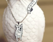 Custom Pet Portrait Necklace with Name Tag - Hand Drawn Art