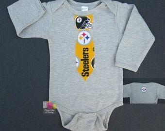 Pittsburgh Steelers Necktie Bodysuit Made from Steelers Fabric, Steelers Baby, Steelers Baby Boy, NFL Baby, Baby Boy Tie, Baby shower Gift