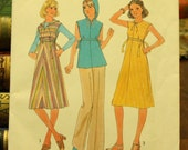 Simplicity 7927 Vintage Sewing Pattern 1970s  Dress Hooded Jumper Top Size 10 Bust 32