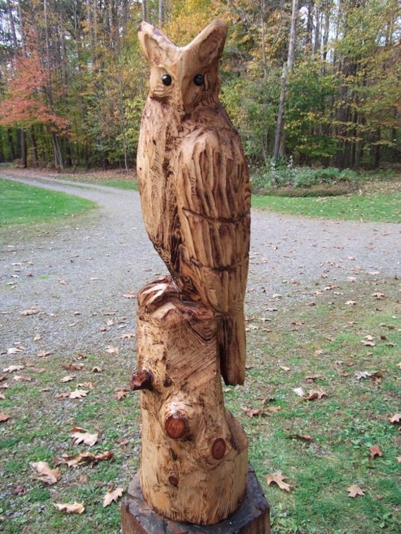 Chainsaw carved great horned owl by carvnstitch on etsy