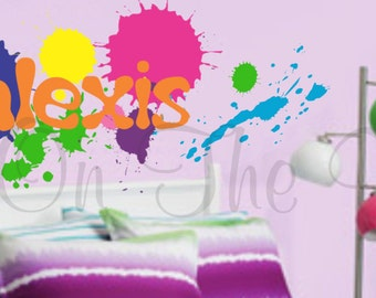 paint splatters wall decals name decal boy bedroom girl bedroom decals for teens graffiti wall art