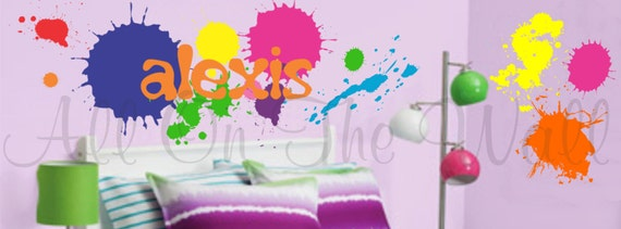 Teen Boy Girl Name Wall Decal Paint Splatters Vinyl Sticker Toy Room Playroom Kids Children Graffiti Party Decor