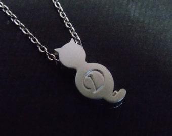 Cat Necklace, Personalized Necklace, Initial Cat Jewelry, Monogram, Dainty, Kitty, Dainty, Animal Jewelry, Birthday Gift, Friend Gift
