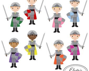 Knights with Swords - Clip Art Set 1 - Cute Boy Knight with Sword Clip Art Set