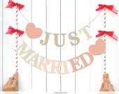 INSTANT DOWNLOAD. Just married - DIY Two Letter ombre Banner for Photo booths - Wedding day - Party decoration Printable