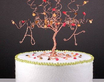 autumn wedding cake toppers tree theme wedding etsy 10909