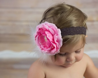 Over the Top Flower Headband Baby Girl Photo Prop Pink Blossom Large Pearl Button Center White Marabou Puff on Brown Lace Headband