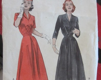 "Vintage 1950s Shirtwaist Dress Pattern Butterick 6126 32"" Bust Shawl Collar"