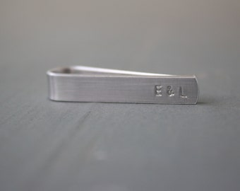 Skinny Tie Clip with Hidden Message, Secret Text on Back