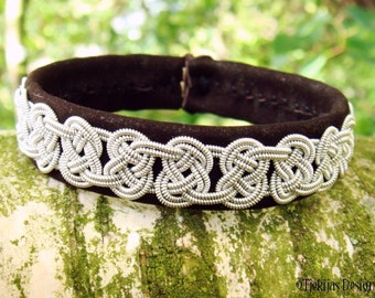 VIKING Celtic Bracelet Luxury Lambskin Lapland Sami Bracelet Custom Handmade in Dark Brown Leather and Braided Spun Pewter Silver Wire