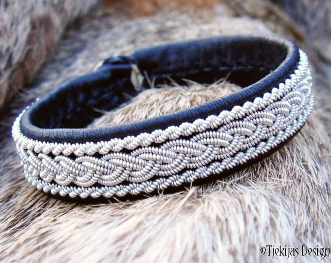 Sami Leather Bracelet MJOLNIR Swedish Lapland Bracelet Cuff in Black Reindeer Leather and Braided Pewter - Custom Handmade Nordic Spirit