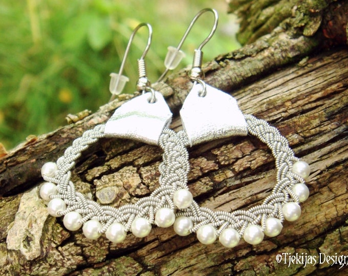 Lapland Jewelry RIMFAXE Swedish Viking Sami Earrings Custom Handmade in finest Spun Pewter thread, Silver Reindeer Leather and White Pearls