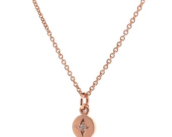 Rose Gold Small Diamond 'Eclipse' Pendant, pink gold circle necklace, red gold disc pendant