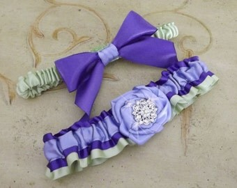 Wedding Garter Set / Wedding Garter Belt/ Purple Bridal Garter / Purple, Lavender and Kiwi Wedding Garter Set/