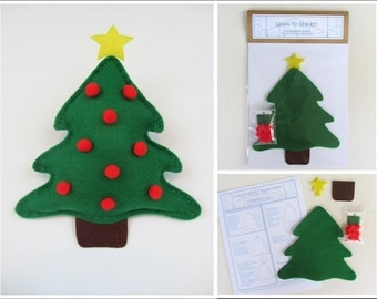 Holiday Learn to Sew Kit for Kids - Christmas Tree