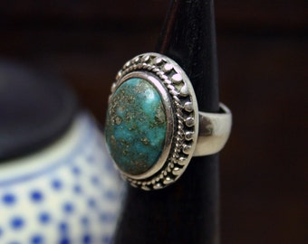 Vintage TURQUOISE Braided Silver Ring; Simple, Solid, Statement Piece; Bold Granulation Design. Unique.