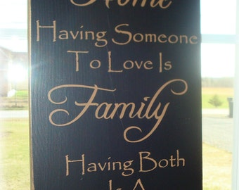 Having a place to go is Home hand painted wood sign board