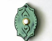 Doorbell Cover with Button - Moroccan Tile Plate - Modern Home Decor - Aqua Mist - MADE TO ORDER