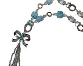 Blue Rhinestone Bow Necklace Pale Blue Stone 'n Silver Recycled Art  OOAK Original Design