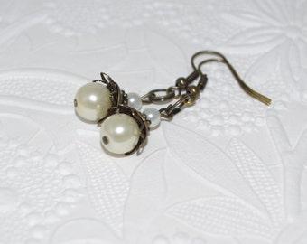 Pearl Antique Brass Earrings Dangle OOAK