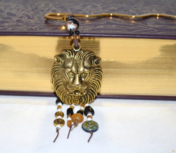 August Birthday LEO Lion Bookmark OOAK Hand Beaded with FREE Blank Journal