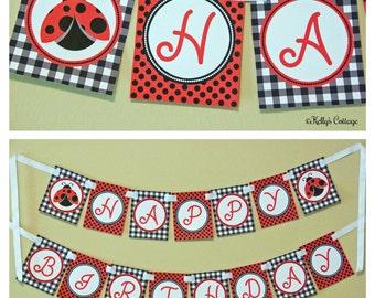 Ladybug Birthday Banner, Instant Download, Printable, Digital