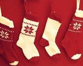 Christmas Stocking Knitting Pattern, Fair Isle Snowflake Stocking Pattern PDF