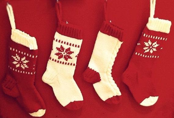 Christmas Stocking Knitting Pattern Fair Isle Snowflake