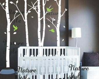 Nursery wall decal tree Wall decal birch tree wall sticker kids Nursery room vinyl wall decal birds forest--6birch tree with flying birds