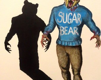 "SUGAR BEAR - Art Print/Reproduction - 11"" x 15""  No.9 in the Breakfast Cereal Monsters series"