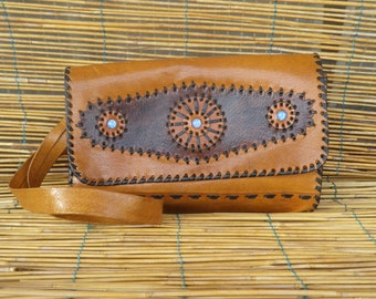 Vintage Lady's 1970's Two Tone Brown Leather Hand Bag