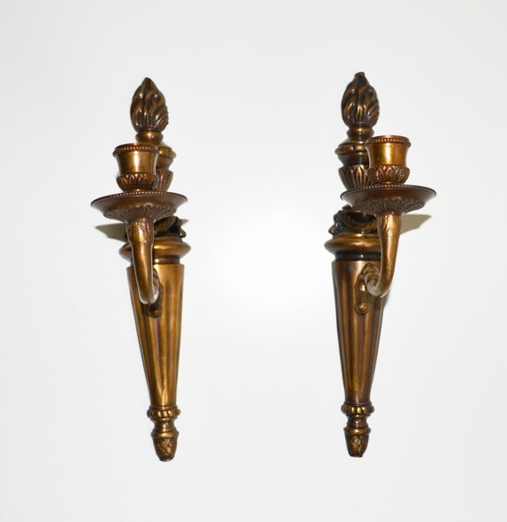Brass Wall Sconces Candle Holders : Vintage Brass Candle Wall Sconces Candle Holders by JudysJunktion