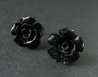 Black Flower Earrings. Black Earrings. Gardenia Flower Earrings. Silver Stud Earrings. Black Rose Earrings. Handmade Jewelry.