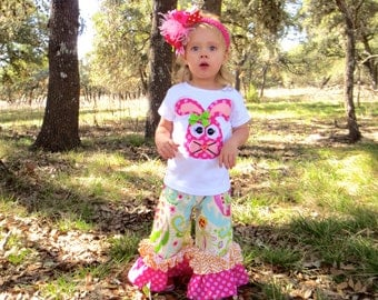Sweet Rabbit...Rabbit Top with Double Ruffle Pants - 0-3m to 8 years... Long or Short Sleeved