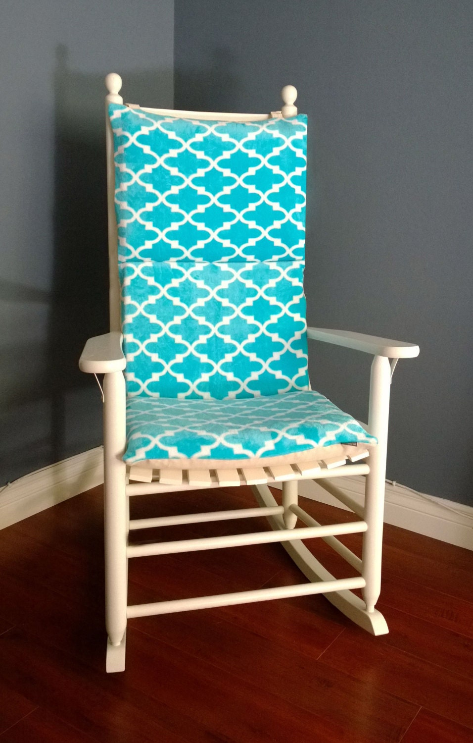 On sale rocking chair cushion cover turquoise microplush