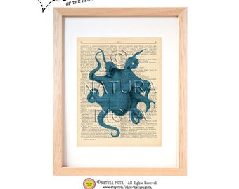 Turquoise octopus dictionary print-Octopus on book page-Coastal art print-Beachy art print-Upcycled Vintage Dictionary art-by NATURA PICTA