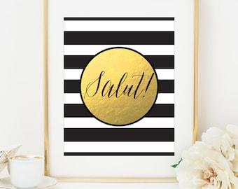 SALUT Faux Gold Foil Art Print - Black & White Stripe - Bar Cart Art - Imitation Gold Leaf - Bar Accessories - Gilded Art