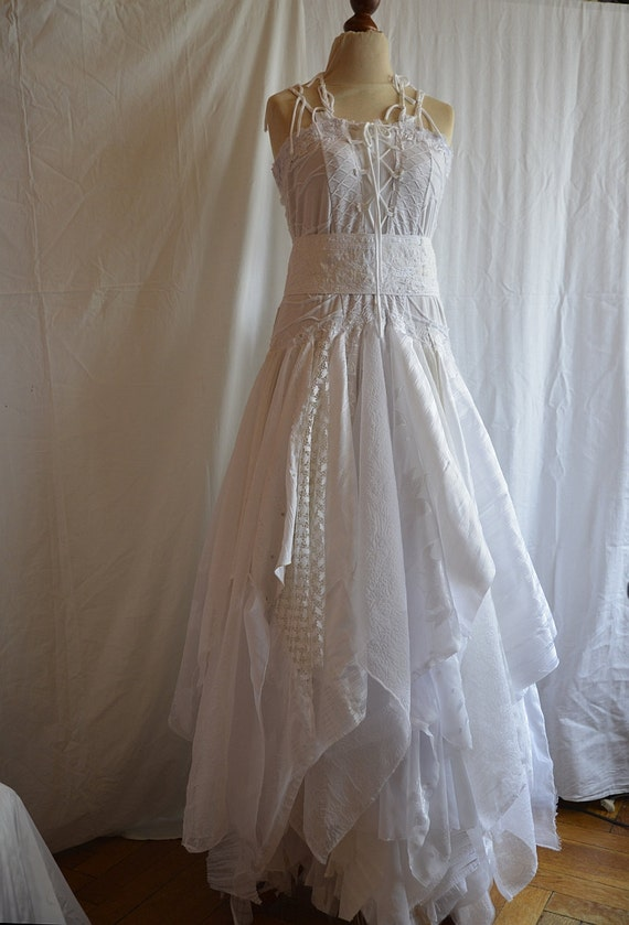 reserved for kat upcycled wedding dress fairy tattered by